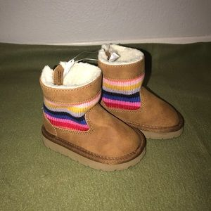NEW Baby Gap Crazy Stripe Faux Suede Booties